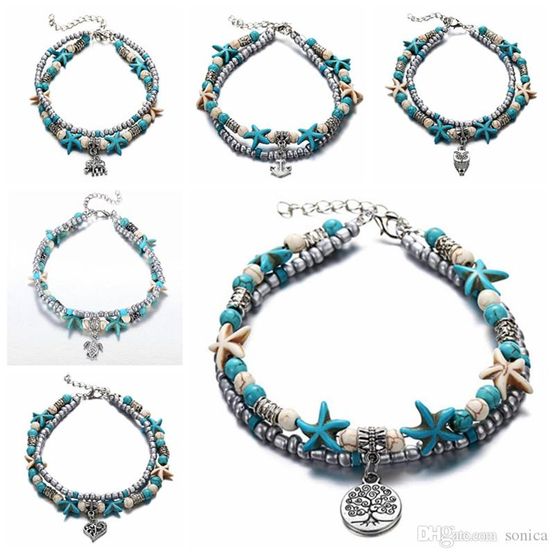 7 styles Summer Beach Turtle Shaped Charm Rope String Anklets For Women Ankle Bracelet Woman Sandals On the Leg Chain Foot Jewelry