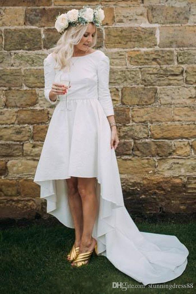 Discount Vintage Simple Country High Low Wedding Dresses Bridal Gowns With 3 4 Long Sleeves Satin Long Back Wedding Gowns New Cheap Best Wedding Gowns Bridal Wedding Dresses From Stunningdress88 70 11 Dhgate Com