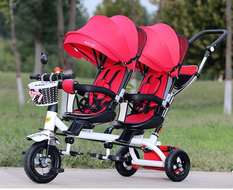 المضادة للأشعة فوق البنفسجية مظلة التوائم عربة طفل مزدوجة ثلاثية العجلات عربة تدوير عجلة دوارة مقعد عربات اثنين عربة أطفال عربة طفل مزدوجة