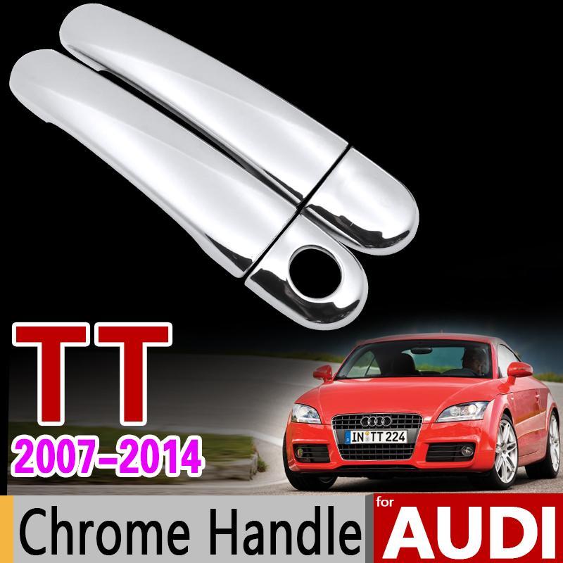 سيارة كروم مقبض الباب غطاء تريم مجموعة ل أودي TT 8J 2007 2008 2009 2012 2012 2012 2012 TTS TT RS كوبيه MK2 اكسسوارات السيارات