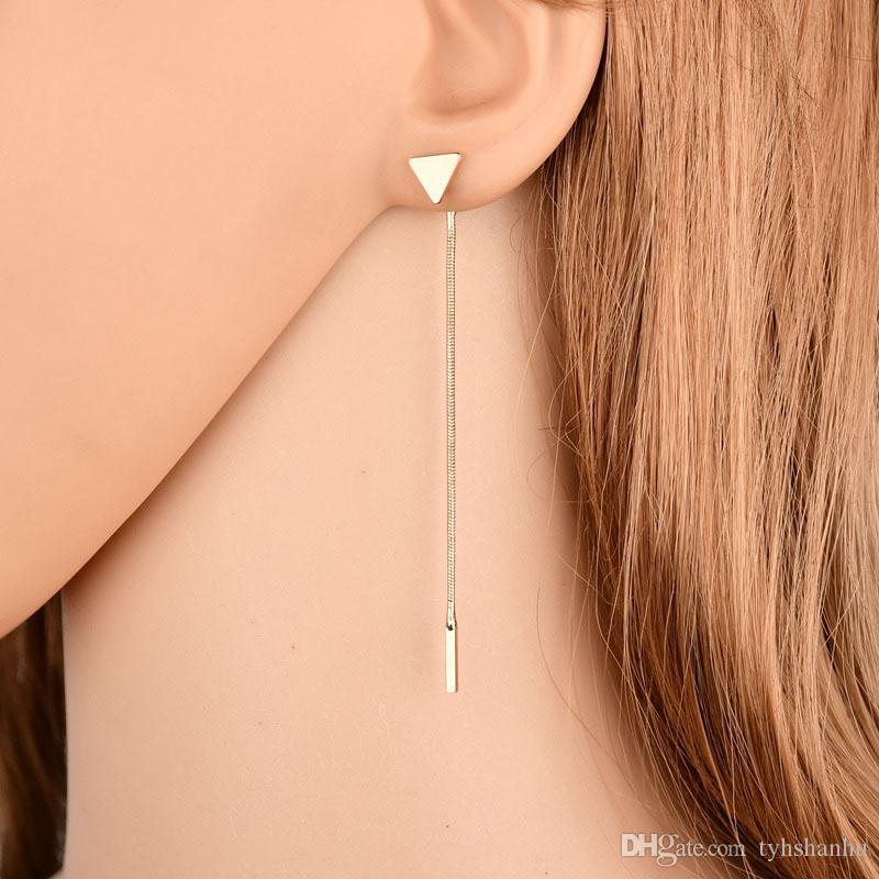 Pendientes Cadena triángulo de la manera de la borla de los pendientes antialérgicos para los pendientes largo de las mujeres Boucle D'oreille Femme 2019 E2302