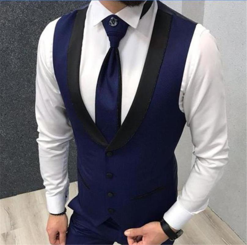 Navy Blue Vests Wedding Black Lapel Business Suit Vest Royal Blue Mens Vest Italian Party Dress Groomsmen Waistcoat Ropa Hombre