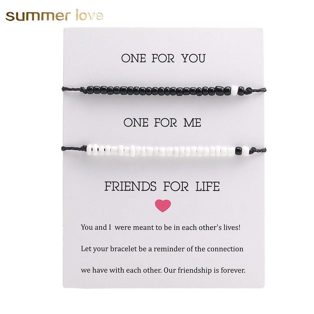 2020 Bohemian Handmade Woven Wax Rope Beaded Bracelet Crystal Seed Beads Adjustable Rope Braided Couple Friendship Bracelet Set Jewelry