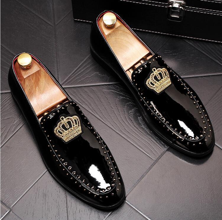 hombres de negocios de boda hecho a mano holgazanes de estilo único Bretaña diseñador del partido de tarde Negro de los hombres de los zapatos de vestir fumadores