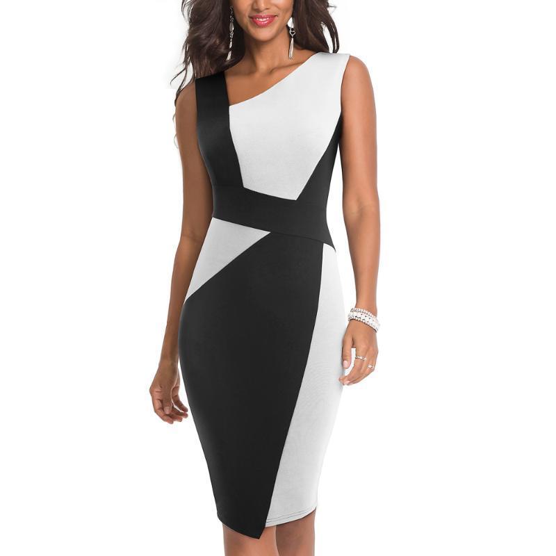 Remiendo de las mujeres de la vendimia del collar asimétrico vestido elegante casual Trabajo de oficina vaina vestido delgado EB517