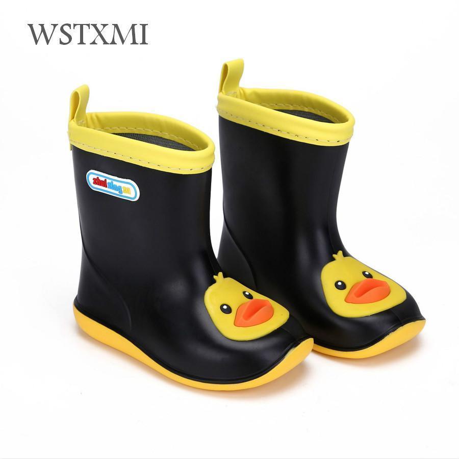 Kids Children Baby Boys Girls Cartoon Duck Waterproof Boots Rain Shoes No Slip