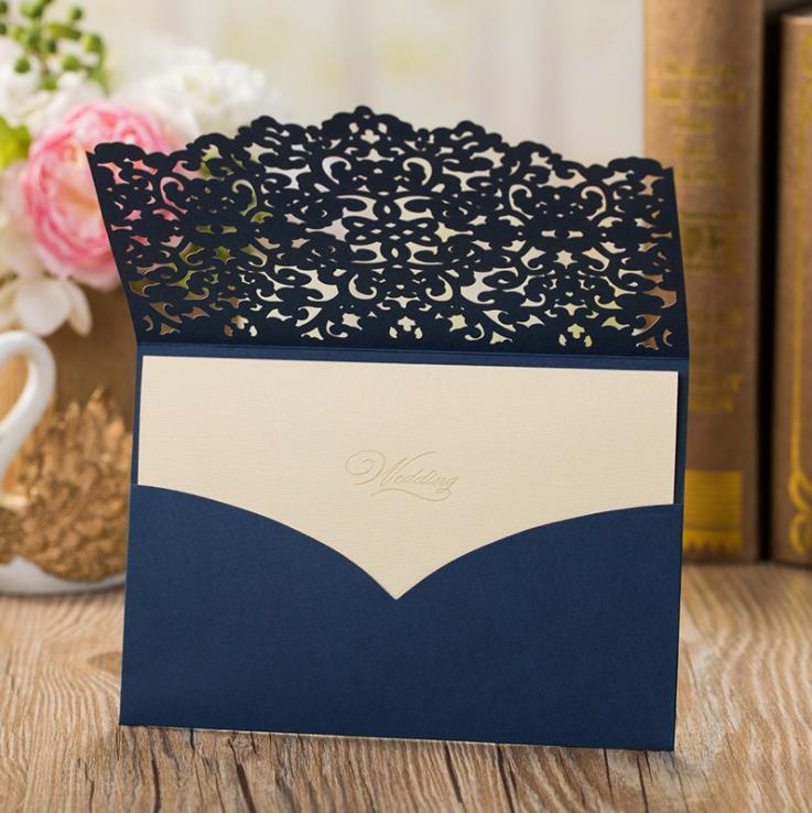 화려한 해군 파란색 레이저 컷 결혼식 초대장 사용자 정의 할로우 플라워 포켓 결혼식 초대장 봉투