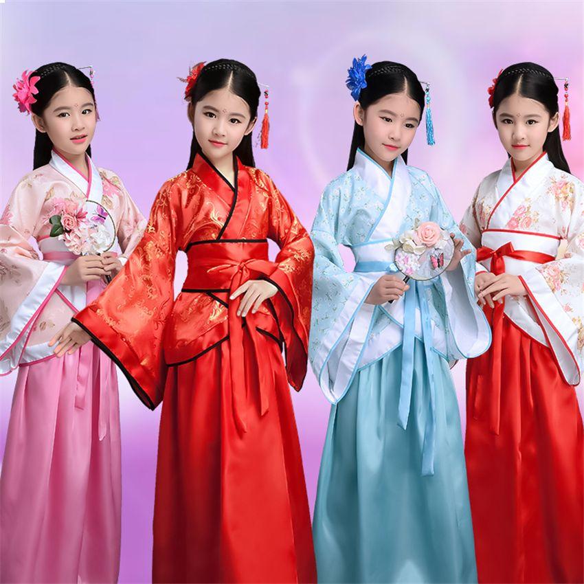 여자 새해 중국어 번체 무대 중국어 의류 어린이 공연 파티 당나라 정장 여성 100-180cm 댄스 복고풍 의상