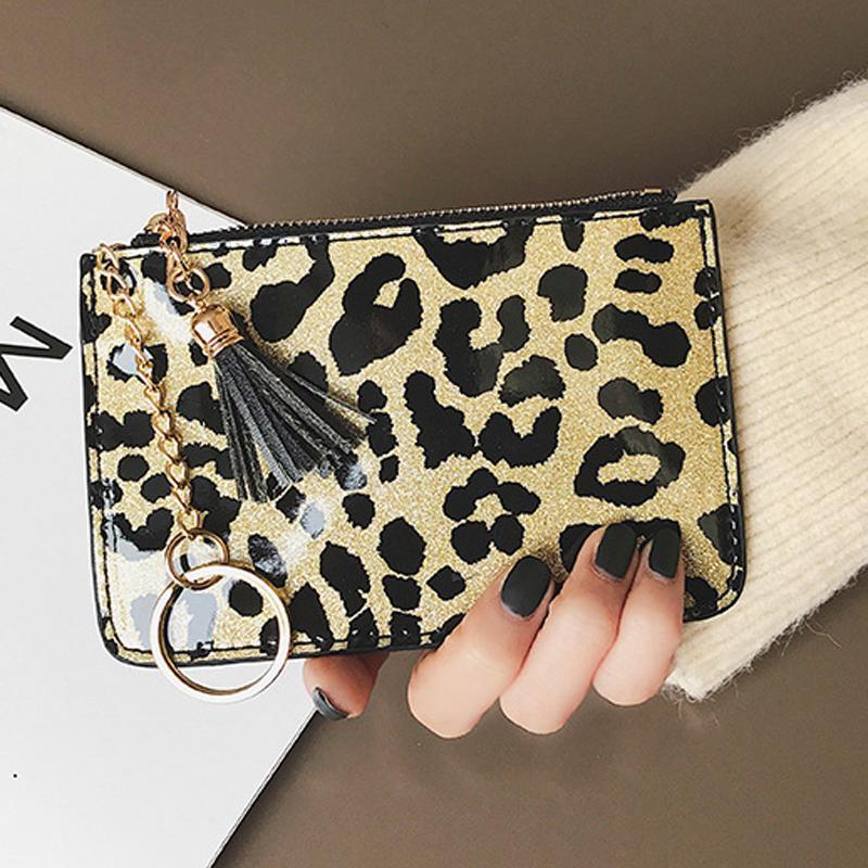 Titular de la tarjeta leopardo de la borla de la moda llavero monedero carpeta de la PU del bolso de embrague del estampado leopardo de las tarjetas partido de la mujer bolsa de regalo del organizador DBC VT1228