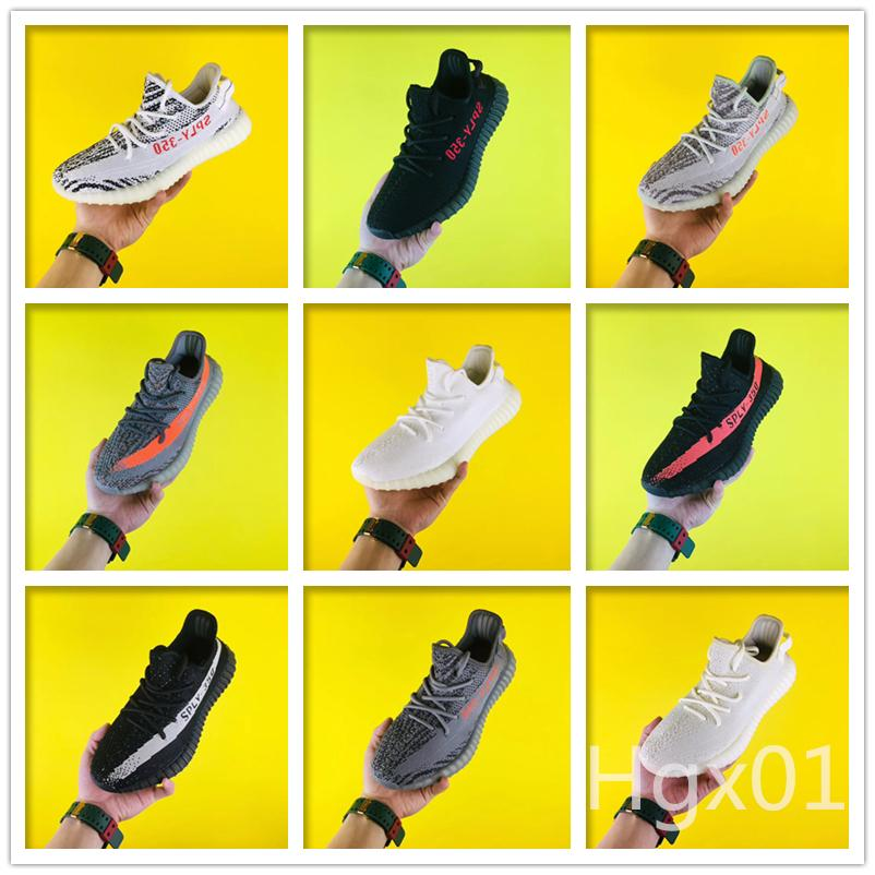 New 350 V2 mens running shoes zebra static Reflective black red stripe butter white sesame men fashion sneakers outdoor training with box 56
