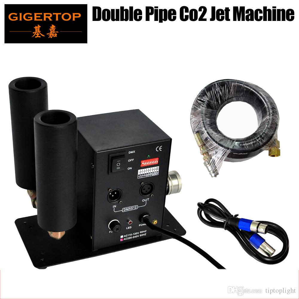 TIPTOP 무대 조명 CO2 기계 더블 노즐 6 미터 호스 DMX 2CH CO2 기계 제트 LED 무대 효과 기계 90V-240V DMX 이산화탄소 DJ가 총