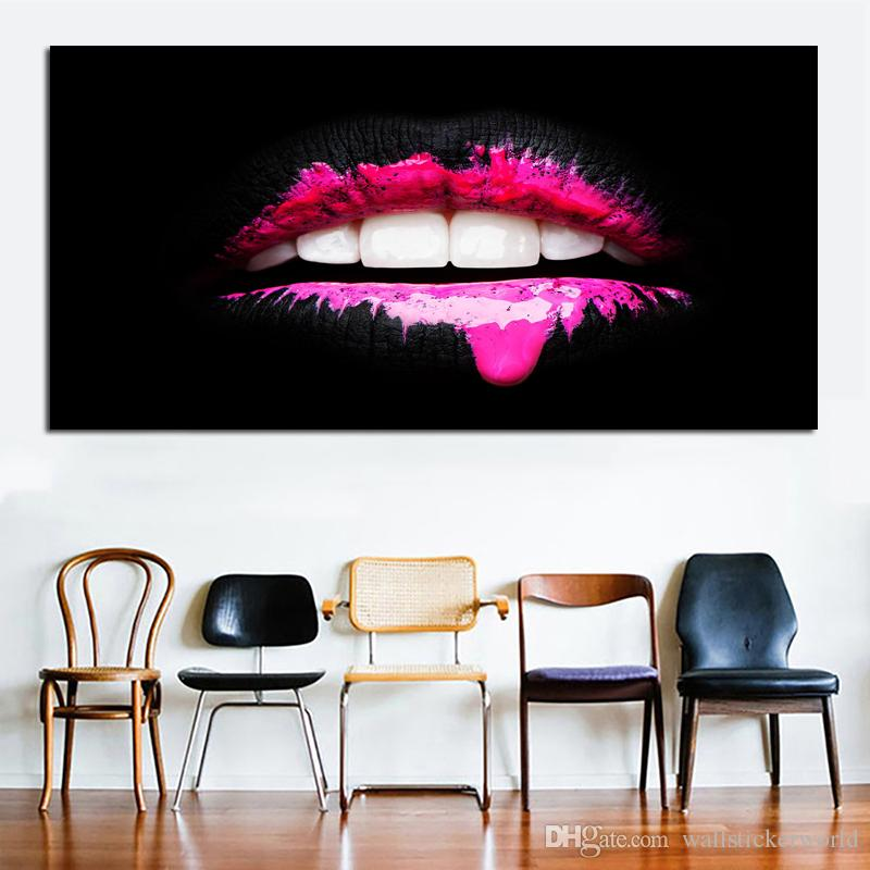 1 Piece Big Size Decorative Pictures For Living Room Sexy Mouth Wall Art Canvas Print Posters Modern Decorative Painting No Frame