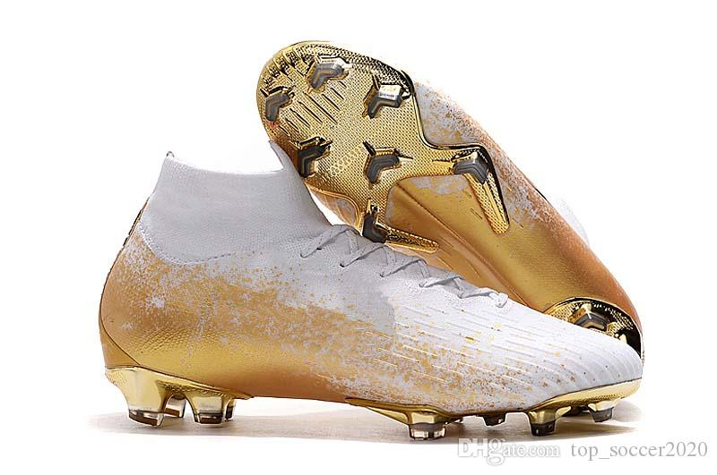 Hot Sale 2019 White/Gold Superfly VII 7 Elite SE CR7 Football Boots Soccer Shoes Mens Under The Radar Soccer Cleats Sneakers