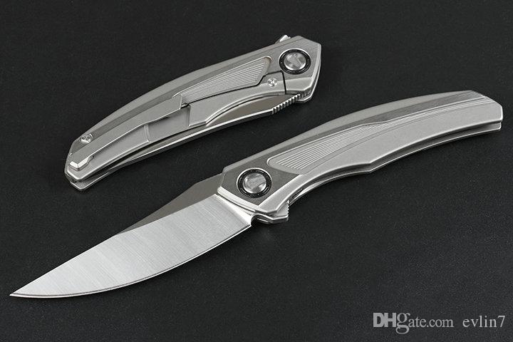 Fast Shipping Flipper Folding Knife S35VN Satin Blade CNC TC4 Titanium Alloy Handle Ball Bearing Fast Open EDC Knives