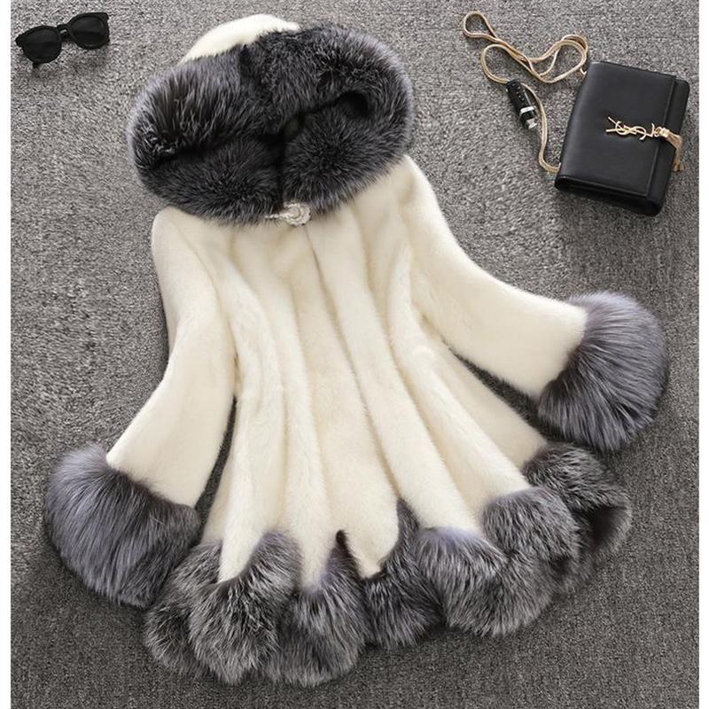 모피 코트 여성 모피 밍크 헤어 중간 길이 후드 슬림 겨울 자켓 코트의 칼라 자연 라이너 롱 자켓