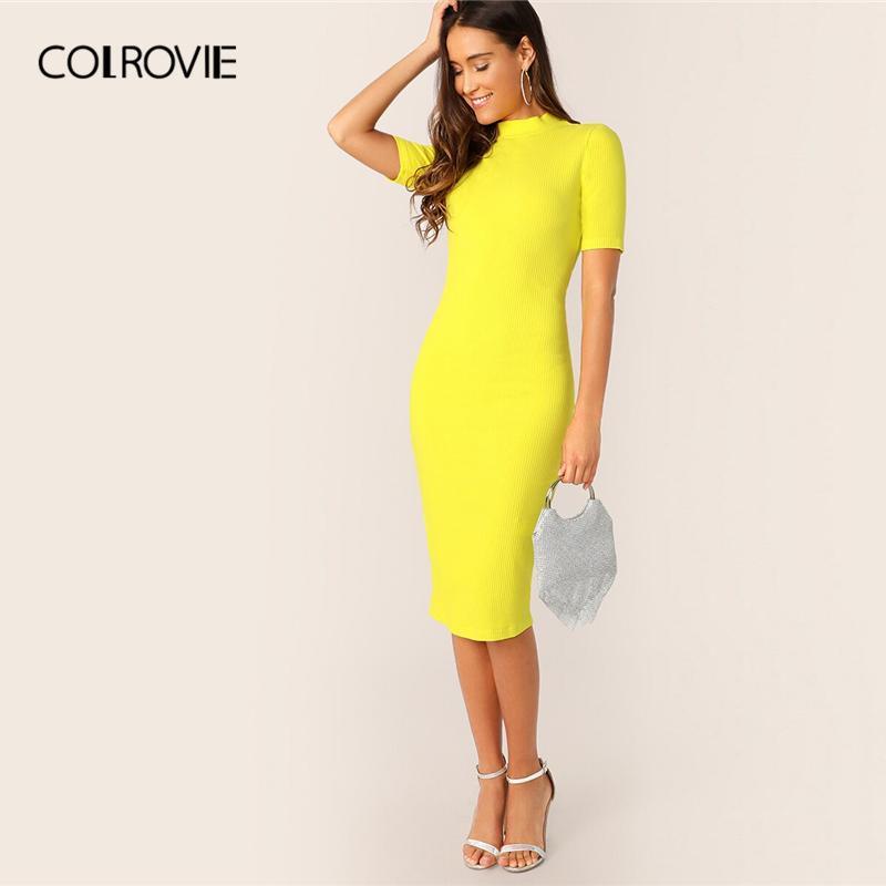 COLROVIE Neon Yellow Mock-Neck Pencil Dress Women 2019 Summer Elegant Short Sleeve Bodycon Slim Spring Office Ladies Midi Dress