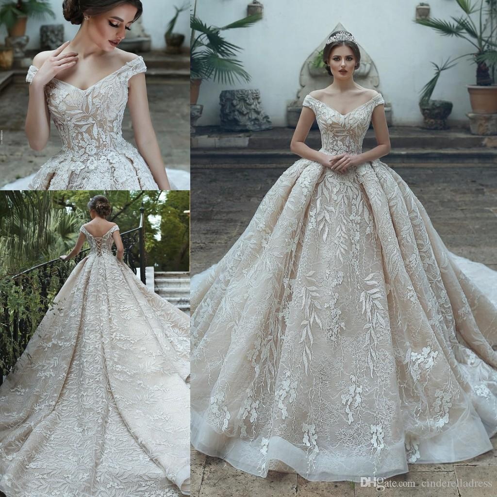 Luxus High-End-Champagner Spitze Brautkleid 2019 eine Linie V-Ausschnitt Schulterfrei plus Größe Vestido de Noiva Hochzeit Brautkleid