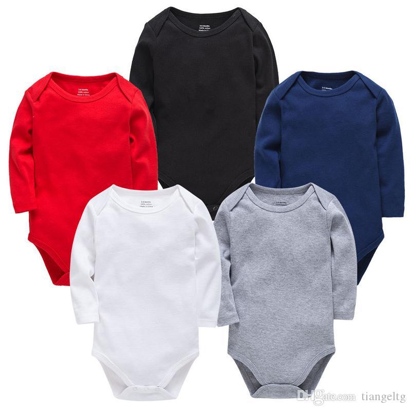 Chevaux pour nourrissons Triangle solide Triangle à manches longues Coton Simple Broto Sansies Jumpsuit Garçon Girls Outfits 0-2T