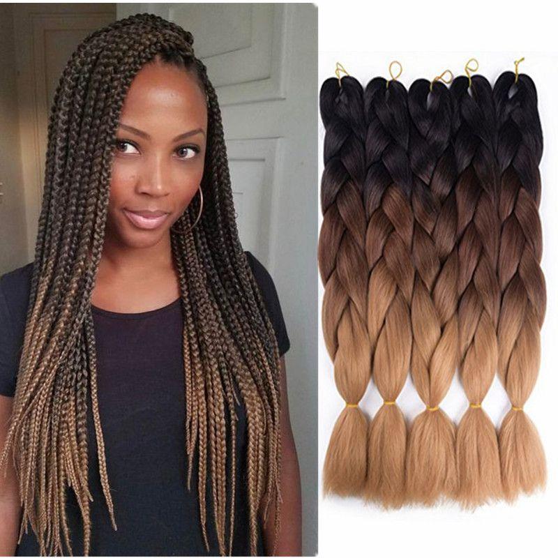 Two Tone Jumbo Braiding Hair Handmade 100g Ombre Color Crochet Ultra Braids Cheap Twist Box Braids Hair Extensions