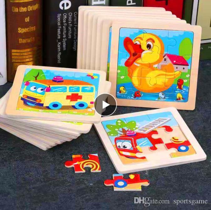 미니 사이즈 11 * 11CM 어린이 장난감 나무 어린이 아기 만화 동물 / 교통 퍼즐 교육 장난감을위한 나무 3D 퍼즐 조각 그림 퍼즐