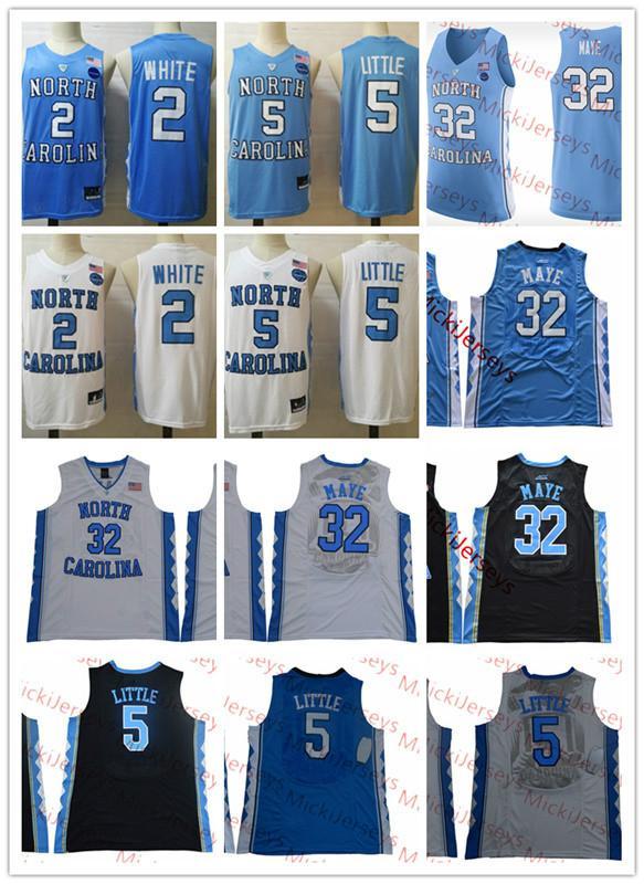 Mens NCAA Norte Carolina Tar Heels Nassir Little Basketball Jersey costurado # 2 COBY Branco # 32 Luke Maye Unc Jersey S-3XL
