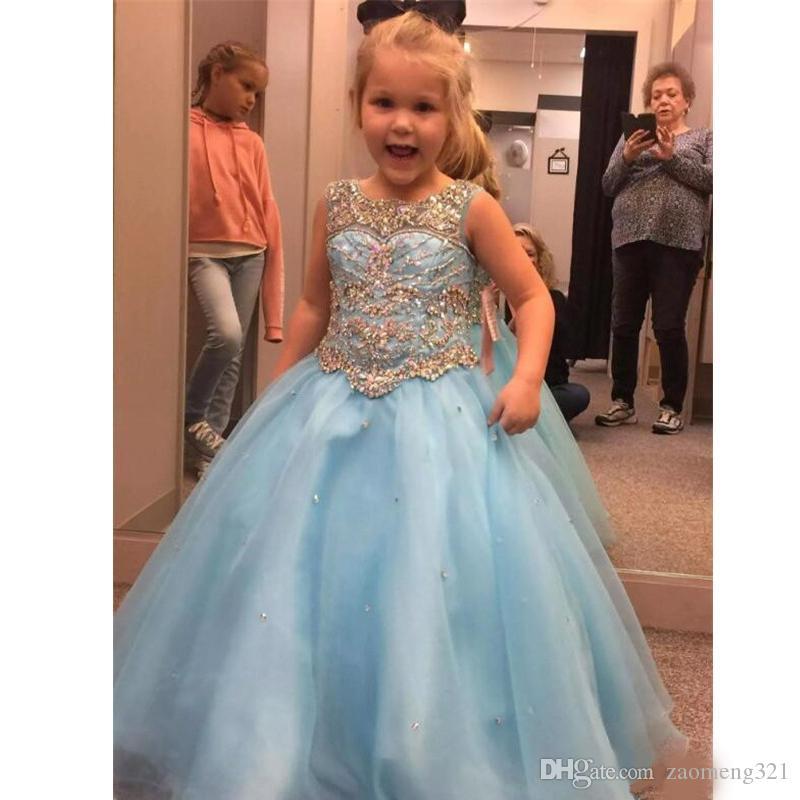 Vestido de niña preciosa balón vestido de las muchachas del niño del desfile de los vestidos con cuentas diamantes de imitación de flores de tul con cordones Volver lentejuelas vestidos de primera comunión