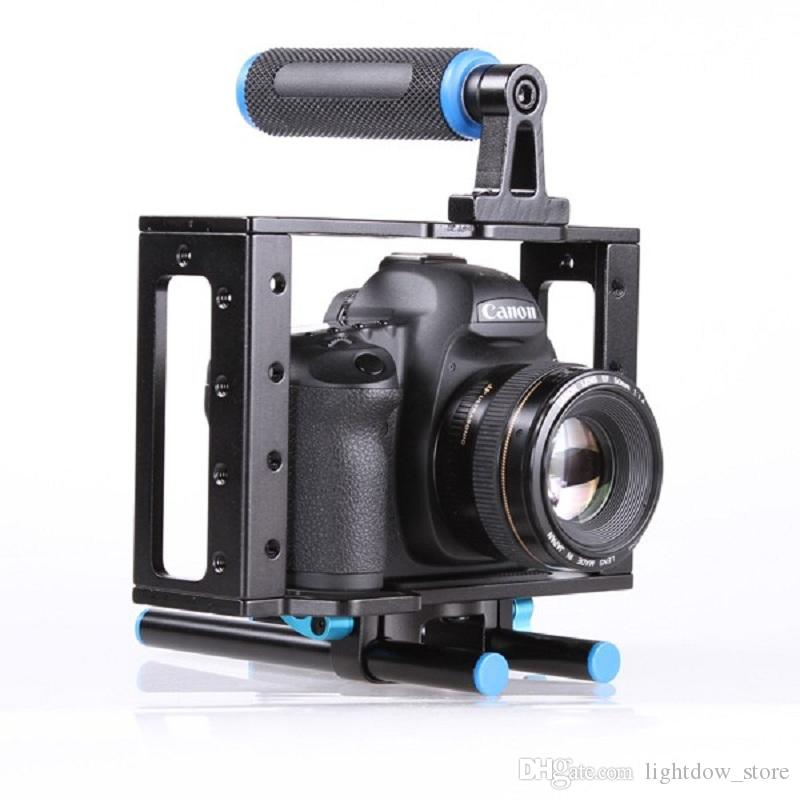 DSLR Camera Cage Support Stabilizer Rig With 15mm Rod Rig for Canon 500D 550D 600D 650D 700D 750D 760D 800D 77D Nikon Cameras