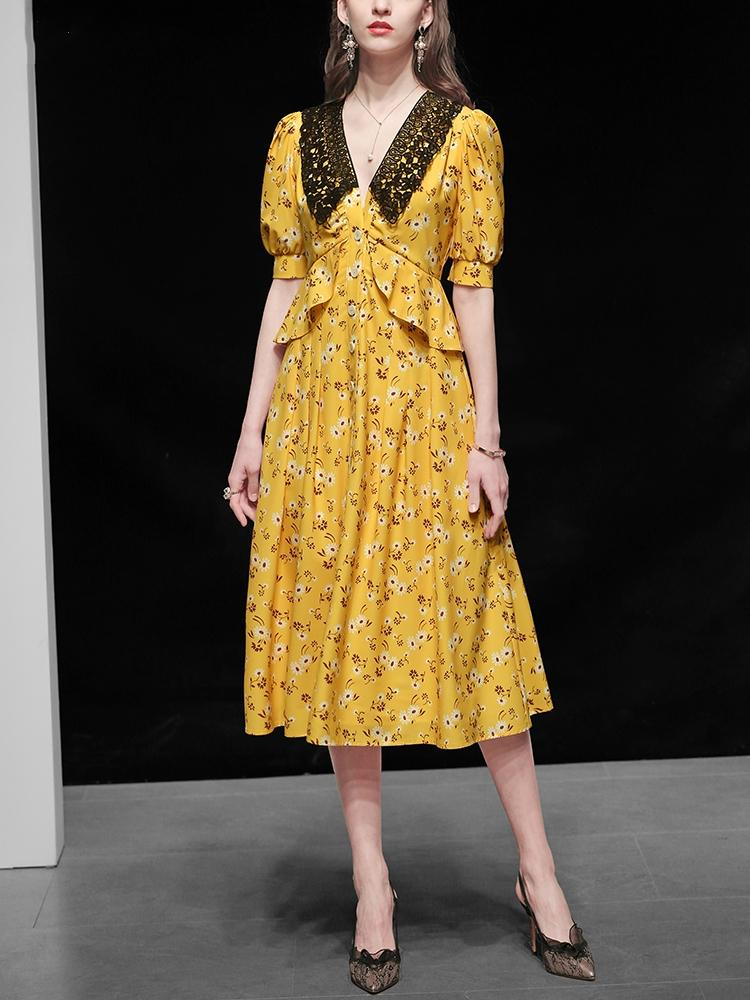 2020 노란색 여성 드레스 여름 우아한 꽃 드레스 축제 고품질 빈티지 칵테일 파티 로브 팜므 레이스 퍼플 쉬폰 Vestidos