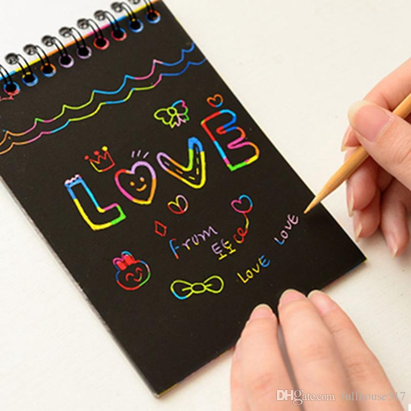 DIY Scratch Art Paper Notebook Note Drawing Stick Sketchbook Kids Party Gift Creative Imagination Development Toy Notes