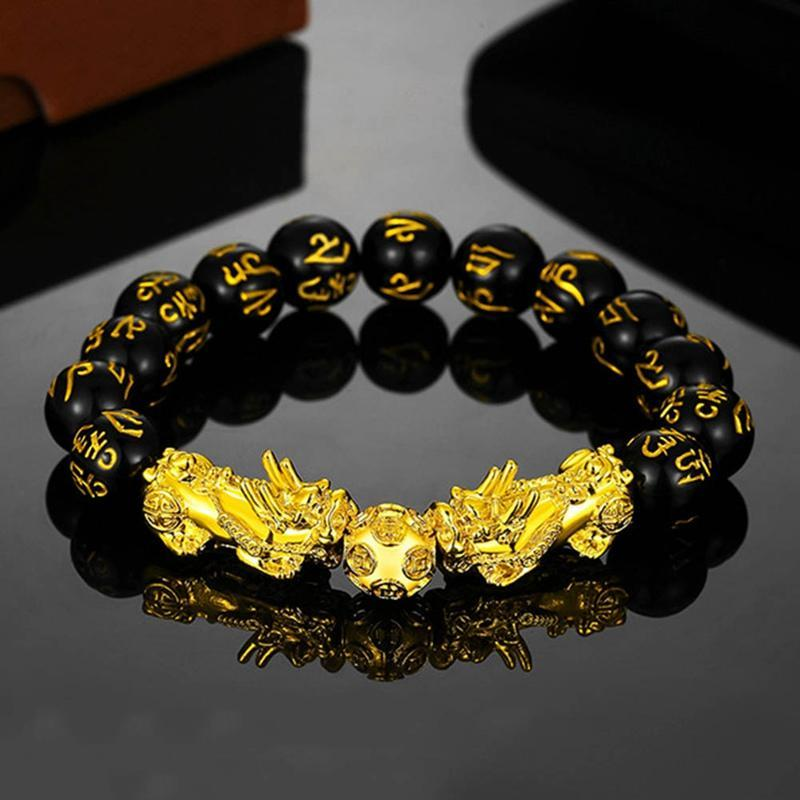 Neue Ankunfts-goldene Farbe PIXIU Armband für Frauen-Männer-Korn-Paar Armband bringen Glück tapferen Reichtum Feng Shui Armbänder