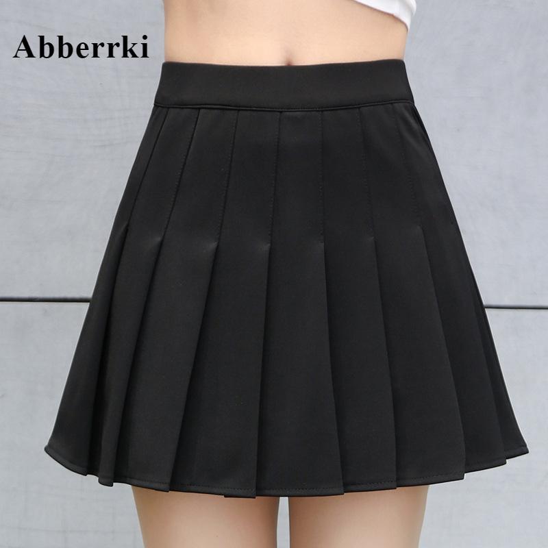 الربيع و الصيف الكورية المرأة عالية الخصر البسيطة مطوي تنورة الفتيات التنس تنورة المدرسة تنورة قصيرة falda كويرو تأثيري