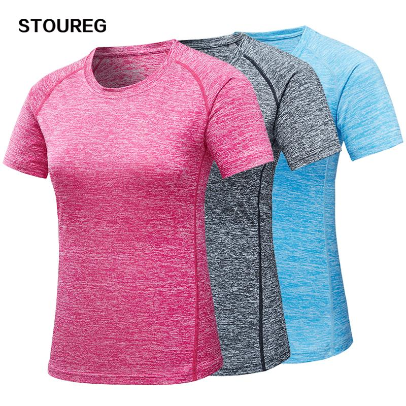 - Ejecución de las mujeres T- femenino del deporte de secado rápido T Shirts Yoga entrenamiento de la gimnasia Camiseta de entrenamiento de fitness Tops Tees corriente del M-3XL