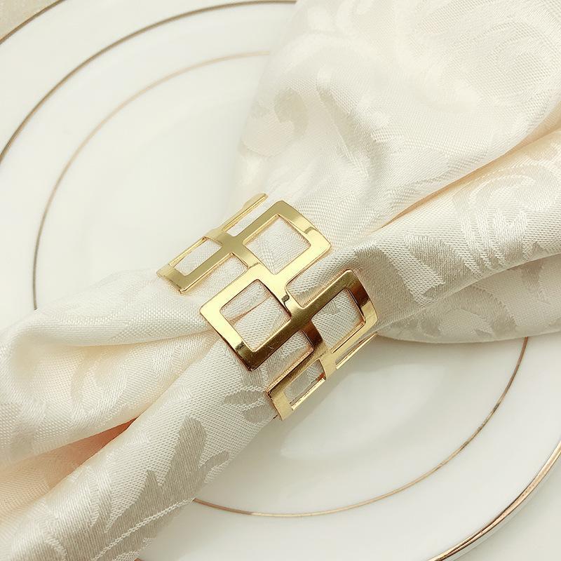Portatovagliolo Golden Argentato Mat Asciugamano Hoop Tavolo Altalena Tavolo Creativo Tovagliolo Cerchio Hotel di Alta Qualità Ristorante Occidentale Articoli 2 9hw p1