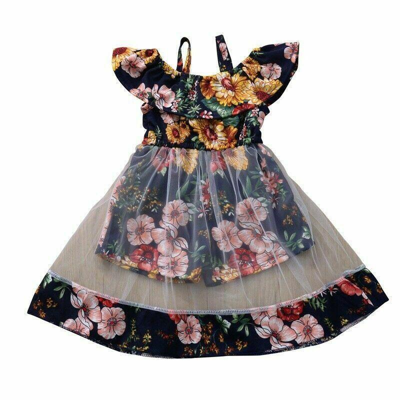 Kinder-Baby weg von der Schulter Blumenprinzessin Dress Rüschen Spitze-Partei-Tutu Mesh-Kleider Sommerkleid Sommer