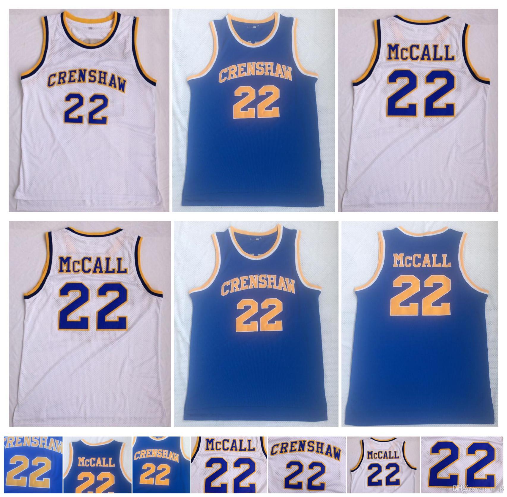 22 Quincy McCall Jersey Crenshaw High School College College Basketball Jerseys Bleu Blanc Sport Shirt Top Qualité! S-xxl