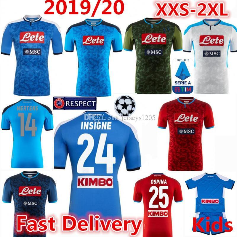 Napoli Maglia Tişört Futbol Forma 2019/20 INSIGNE Ev Futbol Gömlek MERTENS Tişört LLORENTE Yetişkin Erkek Çocuk Setleri Camisa Camiseta Maillot