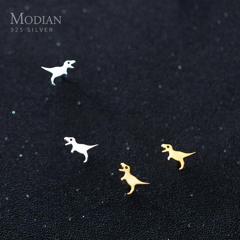Modian Simple Fashion Gold Color Dinosaur Stud Earrings For Women 2020 Tiny 100% 925 Sterling Silver Party Female Jewelry