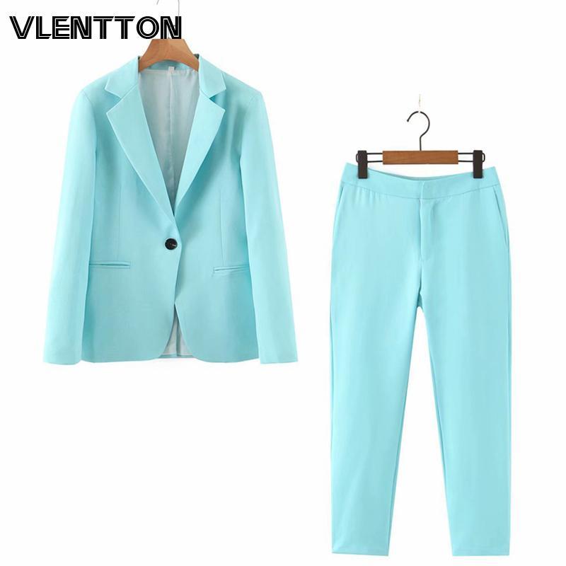 2020 otoño del resorte de rosa púrpura de 2 Piezas botón Set Mujeres sola oficina Señora chaqueta de la chaqueta de la cremallera de las tapas + juego de pantalones pantalones femeninos