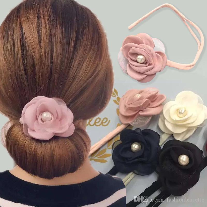 1Pcs flowers pearl chiffon Hairdisk Quick Pan head Clip Hair Accessories Hair Styling Tools DIY Headwear Head Bands for Women