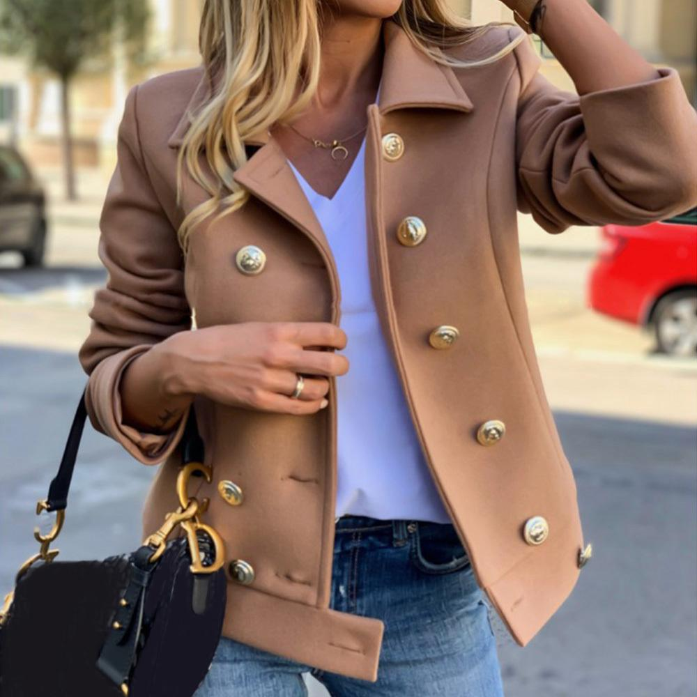 Las mujeres militares del estilo del cortocircuito de la chaqueta de lana Oficinas Señora Botón salvaje Casual chaqueta de color caqui femenino del trabajo formal capa de la vendimia Jacke D20 T200306