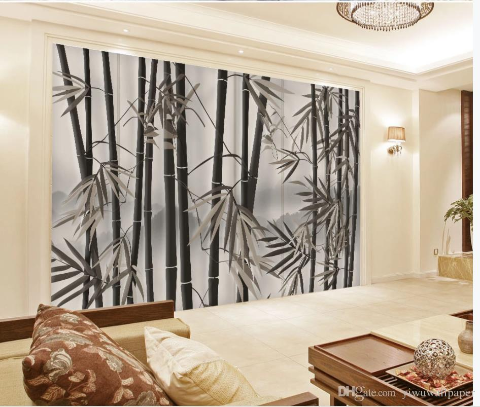 3D Wandbilder Tapete Raum Retro-TV Sofa Kunst Hintergrund Wand Bambuswald für das Leben
