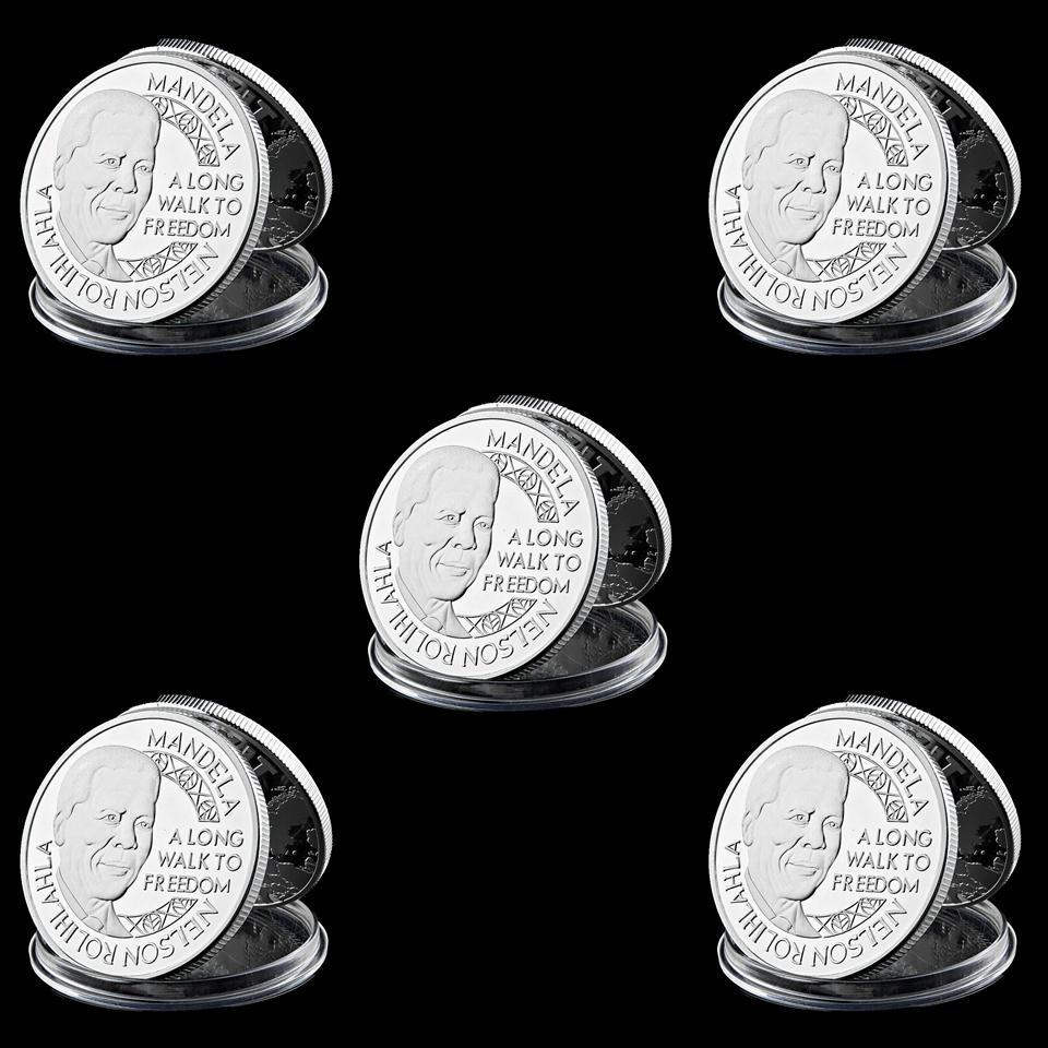 5pcs Souvenir Coin Mandela Honoured Noble Peace Prize Silver Plated 40mm*3mm Commemorative Coin