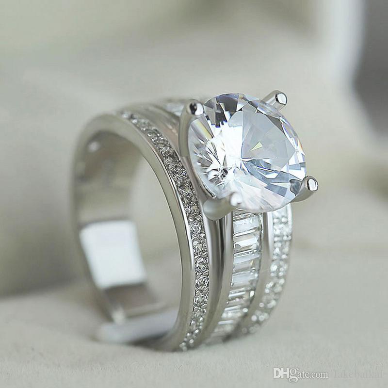 بلينغ بلينغ الزركون البنصر للمرأة الزفاف الزركون خاتم الزفاف هدية لصديقة الحب الحجم 6-10 جودة عالية