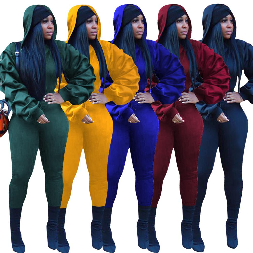 Winter Women Sets Hooded Full Lantern Sleeve Top Pants Suit Two Piece Set Solid Casual Fashion Tracksuits Fitness Outfits GL8256