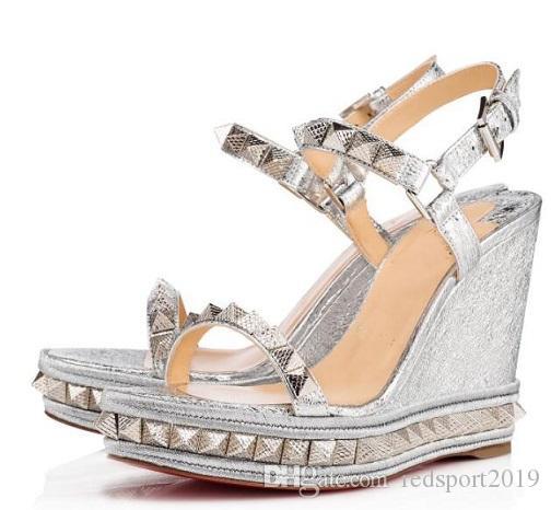 Yaz Stil Kadın Pyraclou Cataclou Sandalet Sandalet Lüks Kırmızı Alt Bayanlar Yüksek Topuklu Gladyatör Sandalet Zapatos Düğün Gelin Origina