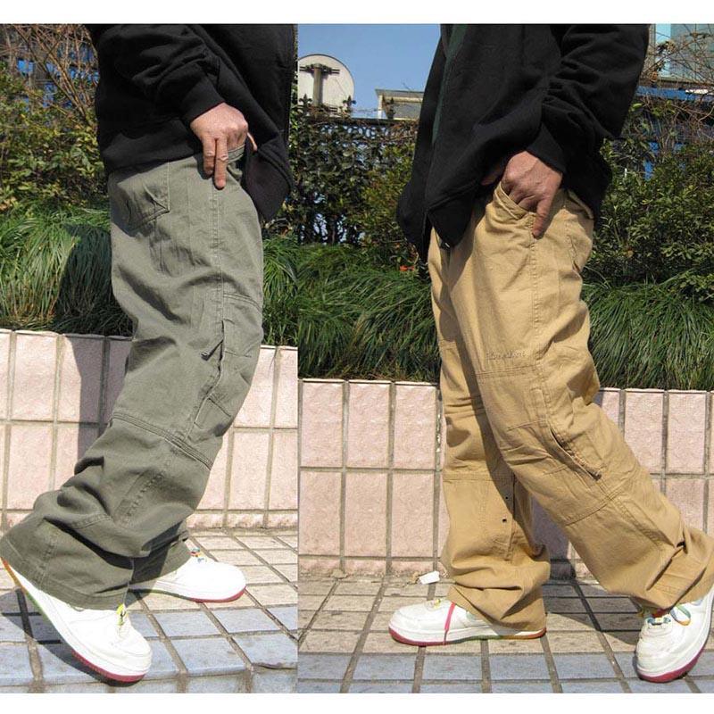 Danza hip hop Mens pantaloni pantaloni casual pantaloni jogging allentato rigonfio Cargo Cotone laterale tasca della chiusura lampo Maschio Abbigliamento taglie forti 6XL