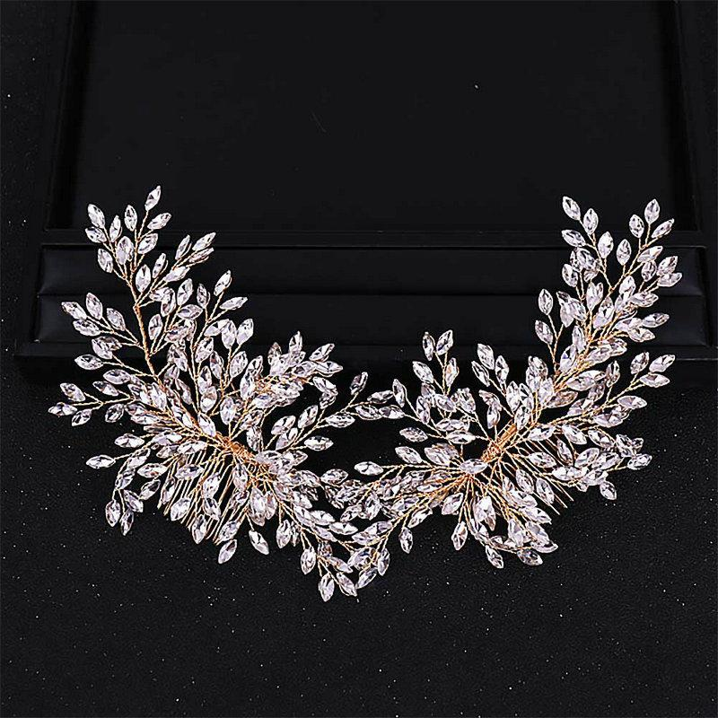 Newest Design Crystal Rhinestone Double Hair Comb Leaf Tiaras and Crowns Headpiece Wedding Hair Jewelry Accessories For Bride JL