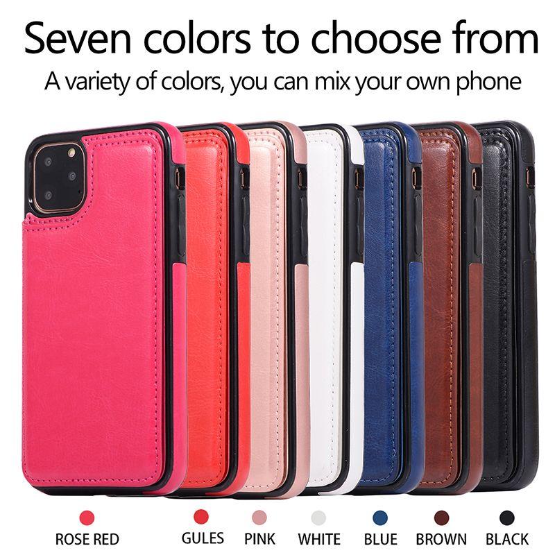 الهاتف حالة المحفظة القضية مع حامل بطاقة PU جلدية بطاقة Kickstand لتغطية فتحات للحصول على 11 XS MAX XR 8 سامسونج Note10 PLUS
