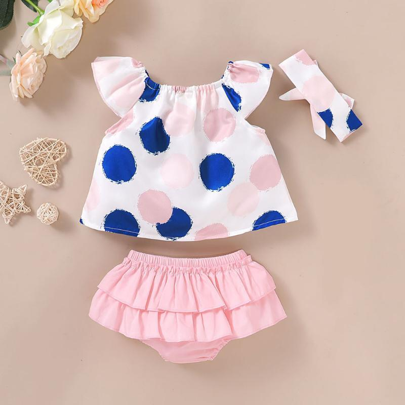 New 2020 Summer Infant Baby Girl Clothes Dot Print Sleeve Tops+ Ruched Shorts Girls Outfits Set Roupas Infantis Menina @35