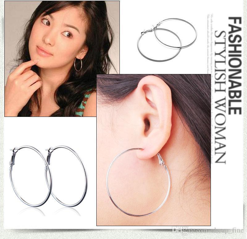 Big Hoop Earring New Polishing Exagerated Hoop Ear Loop Smooth Circle Para Mujeres Niñas Color Plata Oro